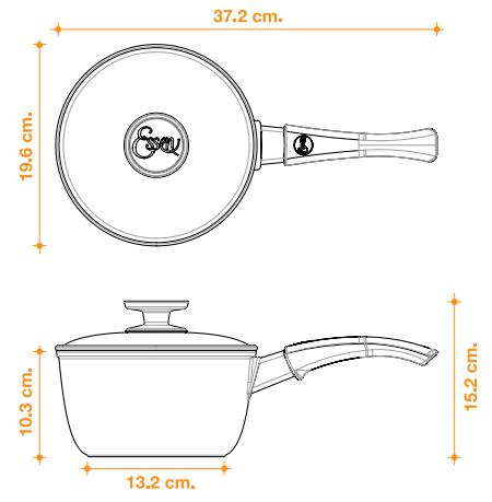 características tecnicas de la cacerola 18cm essen. Describe el diametro, las medidas, la capacidad en litros y para cuantos comensales es.