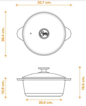 cacerola 24 cm essen. tamaño medio, ideal para realizar recetas para 4 a 5 personas
